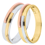 gold jewelry Duo d'alliances Titan 3 ors