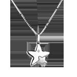 Dúo estrellas - gran modelo - oro blanco - 9 quilates