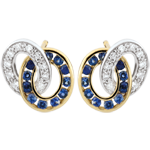 gold jewelry Duorama Diamond and Sapphire Earrings