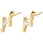 women Earring Precious Nest - Apostrophe (very big model) - yellow gold - 0.31 carats - 18 carats
