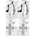 Earrings Abundance - Diamond Cross - white gold 9 carats and diamonds