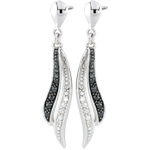 Earrings Clair Obscure - dangling - white gold and black diamonds