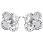 wedding Earrings Eclosion - White Clover - gold and diamonds