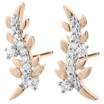 gift woman Earrings Enchanted Garden - Foliage Royal - Pink gold and diamonds - 9 carat