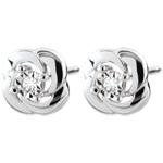 gift women Earrings Freshness - Camélia - white gold