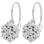 gold jewelry Earrings Freshness - Flower Snowflake - 14 diamonds and white gold