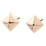 present Earrings Genesis - Rough Diamonds - Rose Gold - 18 carat