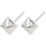 Earrings Genesis - Rough Diamonds - white gold - 9 carat