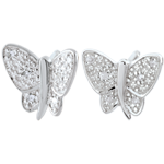 wedding Earrings Imaginary Walk - Butterfly Musician - White Gold