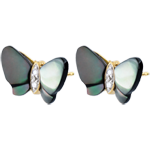 gift Earrings Imaginary Walk - Mother-of-pearl Butterflies - mother-of-pearl and diamonds