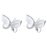 Earrings Imaginary Walk - Studs Butterfly Cascade- white gold and diamonds