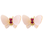 gold jewelry Earrings Imaginary Walk - Yellow gold mother-of-pearl Butterflies - mother-of-pearl and ruby