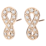 weddings Earrings Infinity - rose gold and diamonds - 9 carats