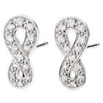 gold jewelry Earrings Infinity - White gold and diamonds