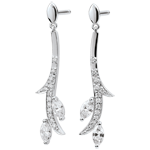 gift woman Earrings Mysterious Woods - white gold and diamonds boats - 9 carats