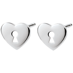 women Earrings Precious Secret - Heart - White Gold
