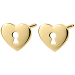 gift women Earrings Precious Secret - Heart - Yellow Gold