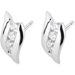 gifts women Earrings Trilogy Precious Nest - Diamond Curved - white gold - 18 carats
