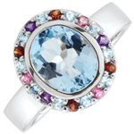 wedding Eden's Flower Ring - Silver and fine stones