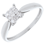 gifts women Elegance ring white gold square paved - 9diamonds