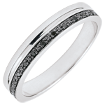 gold jewelry Elegance Wedding ring - White gold and black diamonds - 9 carats
