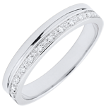 Elegance Wedding ring - White Gold and Diamonds - 18 carats