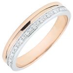 gold jewelry Elegance Wedding ring - White gold and rose gold - 9 carats