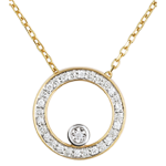 gift women Elegant Yellow Gold Circular Necklace