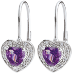 weddings Enchanting Amethyst Heart Earrings - 18 carats