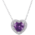 gift Enchanting Amethyst Heart Necklace - 18 carats