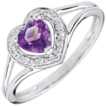 Enchanting Amethyst Heart Ring - 18 carats