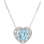 weddings Enchanting Blue Topaz Heart Necklace - 18 carats