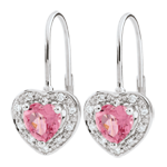 gifts woman Enchanting Pink Topaz Heart Earrings - 18 carats
