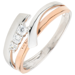 sell on line Engagement Ring Precious Nest - Trilogy Variation - pink gold. white gold - 3 diamonds - 18 carats
