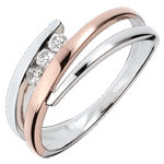 gold jewelry Engagement Ring Precious Nest - Triple diamonds - pink gold. white gold - 3 diamonds - 18 carats