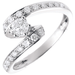 gifts woman Engagement Ring Solitaire Destiny - Nefertiti - white gold - 0.28 carat diamond