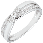 women Engagement Ring Trology Precious Nest - Auréa - white gold - 0.18 carat - 9 carats