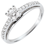 gold jewelry Engagment Ring - Avalon - 0.4 carat diamond - white gold 9 carats