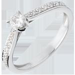 bijoux or L'essentiel d'un solitaire or blanc pavé - 0.14 carat