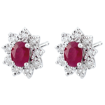 Eternal Edelweiss Earrings - Daisy Illusion - Rubies and Diamonds - 18 carat White Gold