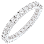 Eternity ring white gold paved-bar prong setting - 1.2 carat - 30 diamonds