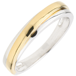 Fede nuziale Atlas -Oro bianco e Oro giallo - 18 carati