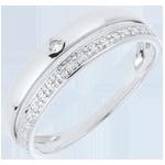 vendita on-line Fede nuziale Coquette - Oro bianco - 9 carati - Diamante