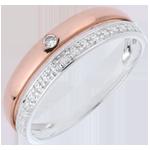 Fede nuziale Coquette - Oro rosa e Oro bianco - 9 carati - Diamante