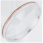 Fede nuziale - Duetto - Oro rosa e Oro bianco - 18 carati