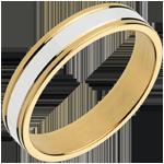 Fede nuziale Esther III - Oro bianco e Oro giallo - 18 carati
