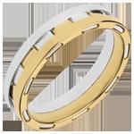 Fede nuziale - Fantascienza preziosa - Oro giallo e Oro bianco - 18 carati