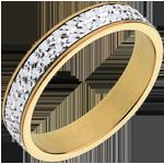 gioiello oro Fede nuziale - Illusione - Oro bianco e Oro giallo - 18 carati