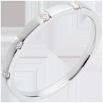 Fede nuziale Oro bianco - 18 carati - 4 Diamanti