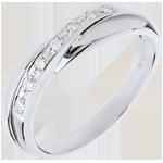 gioielleria Fede nuziale oro bianco incastonatura Binario - 7 diamanti